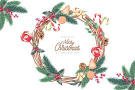 saludo para navidad tarjeta - Marco navideño en vectores gratis