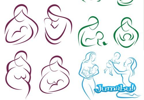 siluetas madres vectores - Siluetas Maternas en Vectores