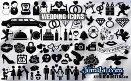 simbolos casamientos vectorizados - Vectores de Elementos que se Encuentran en una Boda