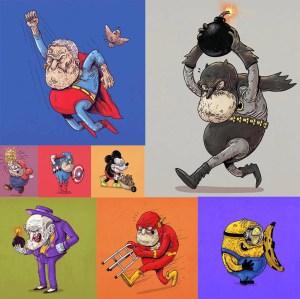 super heroes viejitos - Caricaturas de superhéroes ancianos