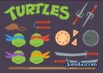 tortugas ninja flat vector - Vectores Planos de las Tortugas Ninja