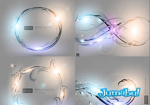 vectores luces vidrios figuras agua - Destellos de Luces de Colores sobre Figuras Transparentes en Vectores