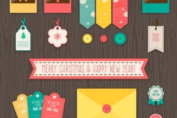 vectores navidenos gratis - Labels Navideños en Vectores Gratis
