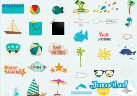 vectores verano peces barco playa - Iconos de Verano en Vectores para Editar