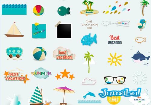 vectores-verano-peces-barco-playa