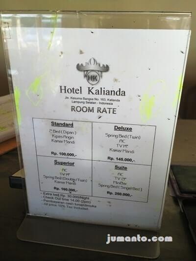tarif hotel kaliannda