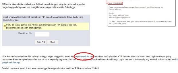 verifikasi PIN Adsense