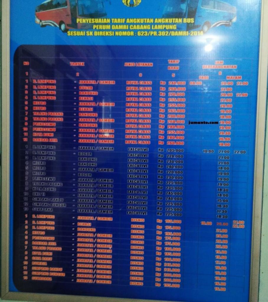 harga tarif bus damri lampung ke berbagai tujuan