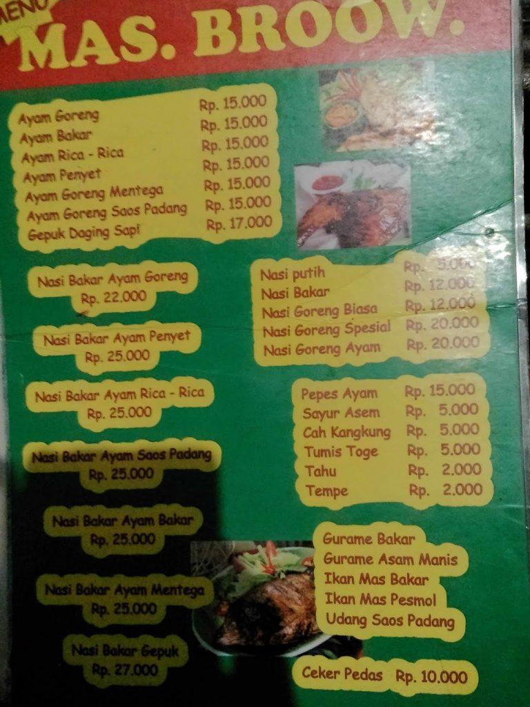 harga makanan di warung lesehan mas broow bogor