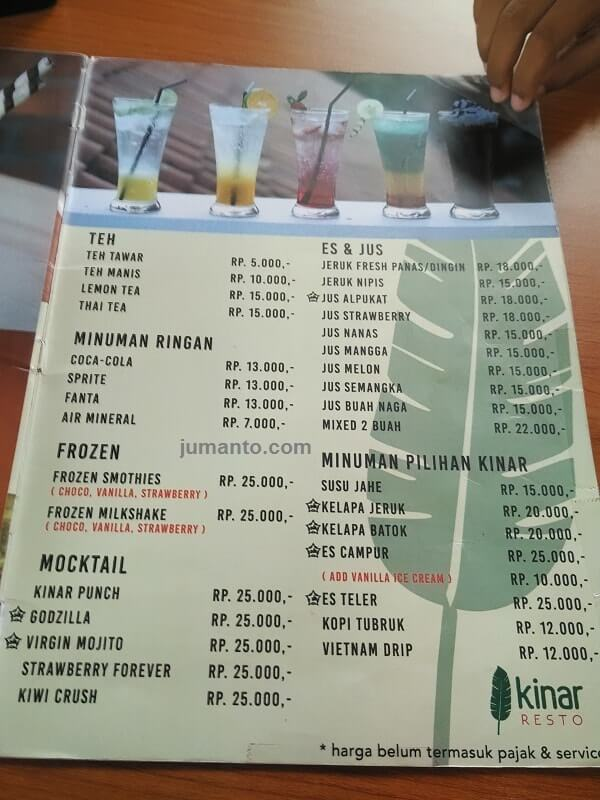 foto daftar menu minuman di kinar resto tanjung karang