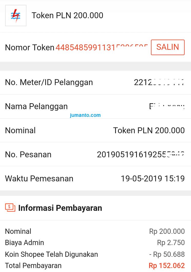 Contoh Nomor Token Listrik PLN Prabayar Saya Beli Online Lewat HP