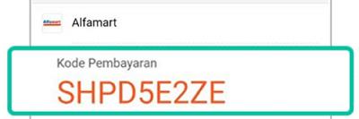 contoh kode pembayaran shopee alfamart