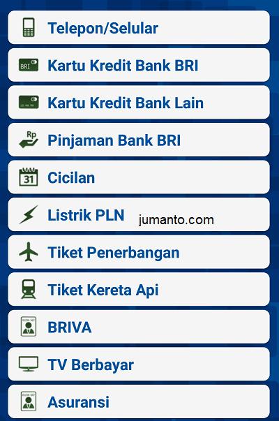 menu pembayaran yang ada di internet banking bri mobile