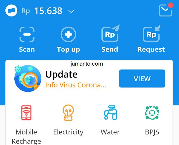 menu transaksi di halaman utama aplikasi dana
