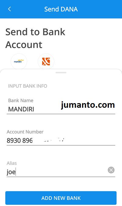 tambahkan rekening baru untuk transfer dari dana ke rekening bank