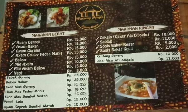 daftar harga dan menu waroeng djoglo karanganyar lampung