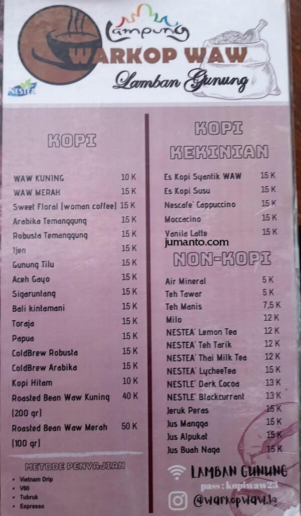 daftar menu minuman warkop waw lamban gunung
