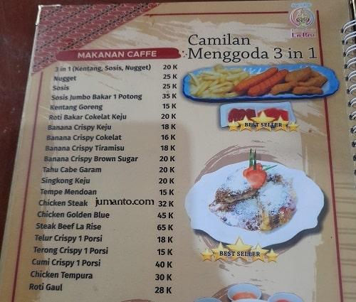 daftar harga dan menu larise cafe lampung 4