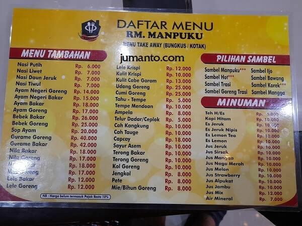 Daftar Menu Makanan Dan Harga Manpuku Resto Bandar Lampung