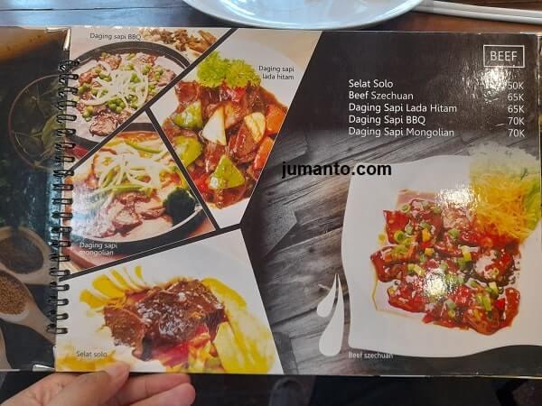 harga dan Menu daging di Ikisopoto Cafe bandar lampung