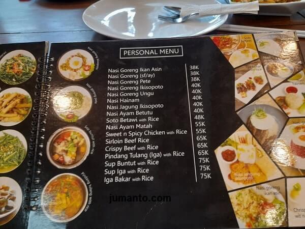harga dan Menu nasi di Ikisopoto Cafe bandar lampung