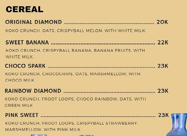 menu cereal diamond cafe lampung barat