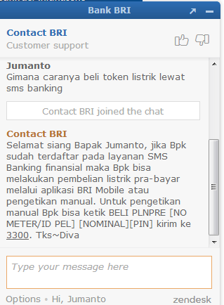 beli token listrik via sms banking bri