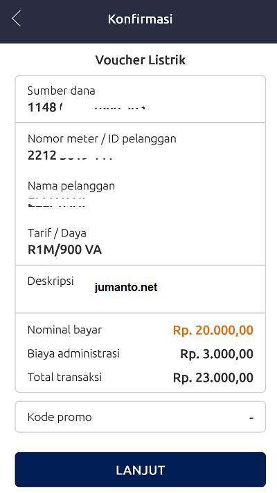 konfirmasi pembelian token listrik