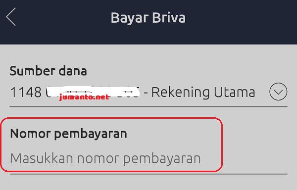 masukkan nomor pembayaran BRIVA di aplikasi BRImo