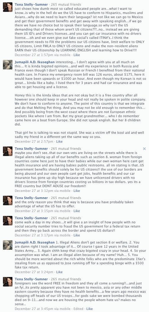 FaceBook Exchange With Tena Stelly-Sumner