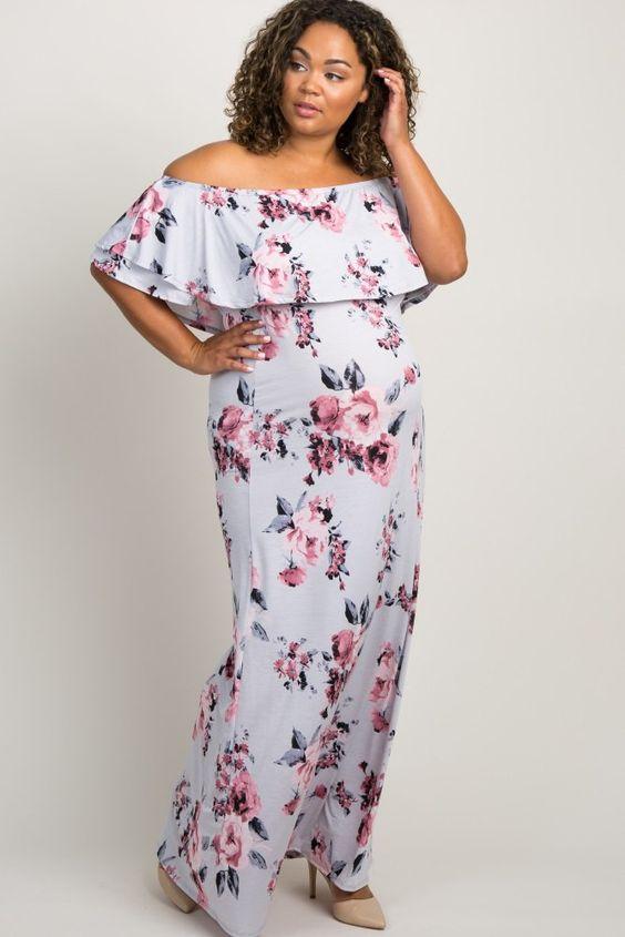 53dc84da936 Light Lavender Floral Flounce Off Shoulder Maternity Plus Maxi Dress  A  lavender floral print