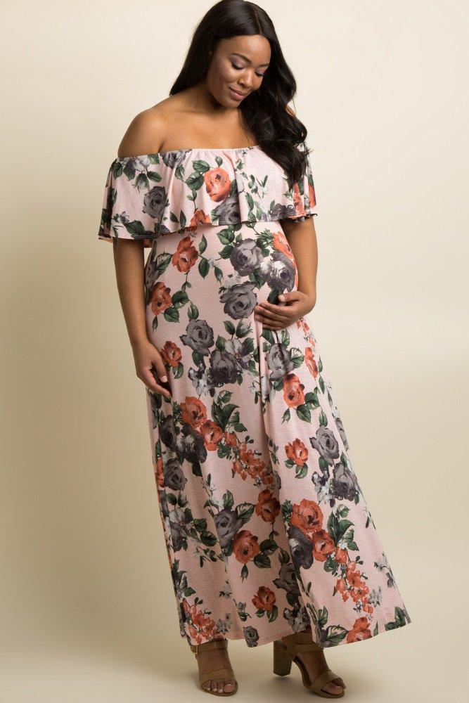 9dba34112d0 Light Pink Rose Off Shoulder Plus Maternity Maxi Dress  Rose print off  shoulder maternity maxi