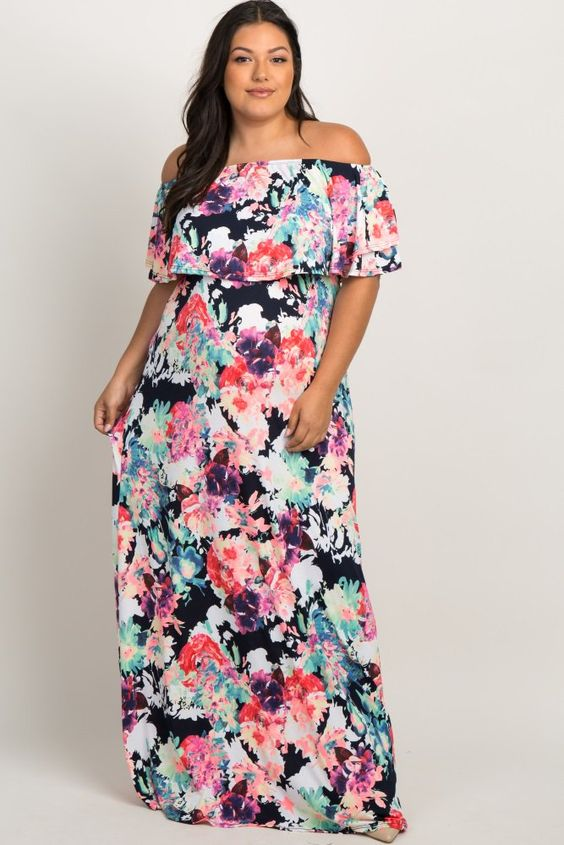 Plus Size Maternity Maxi Dress | Floral Off The Shoulder Maternity ...