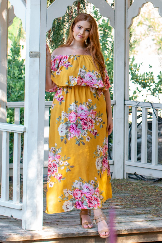 fd751f0b6d4 Yellow Floral Off Shoulder Ruffle Plus Maternity Maxi  A floral print off  shoulder ruffle plus