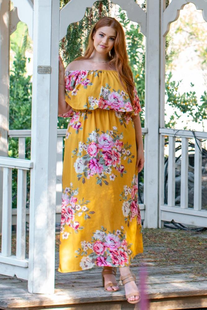 4c11808cc55d2 Yellow Floral Off Shoulder Ruffle Plus Maternity Maxi: A floral print off  shoulder ruffle plus
