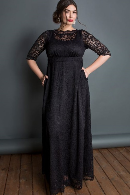 Plus Size Black Lace Maxi Dresses In Modern Styles -