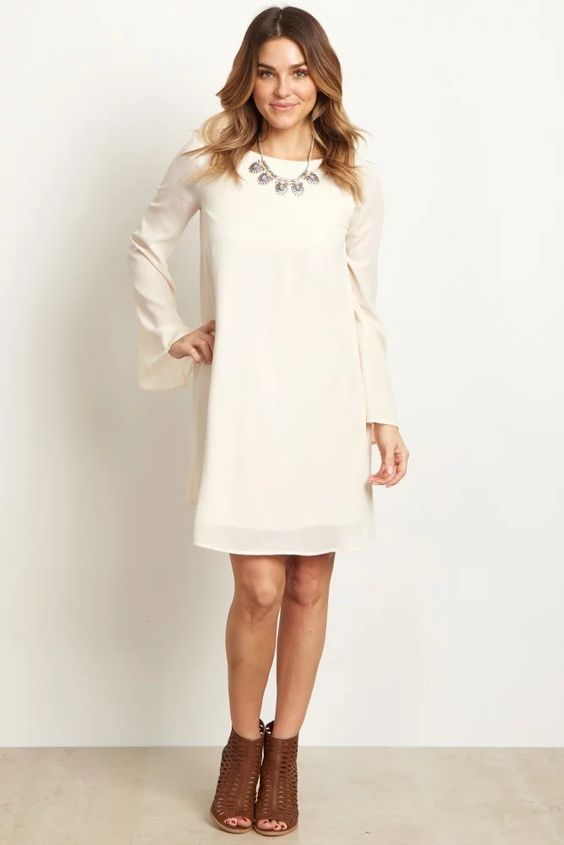 926458e55301c Ivory White Solid Chiffon Bell Sleeve Maternity Shift Dress Baby Shower  Perfection | A solid hued