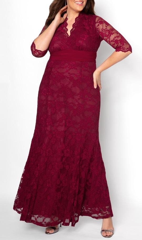 Burgundy Lace Maxi Dresses Plus Size | Plus Size Maxi ...