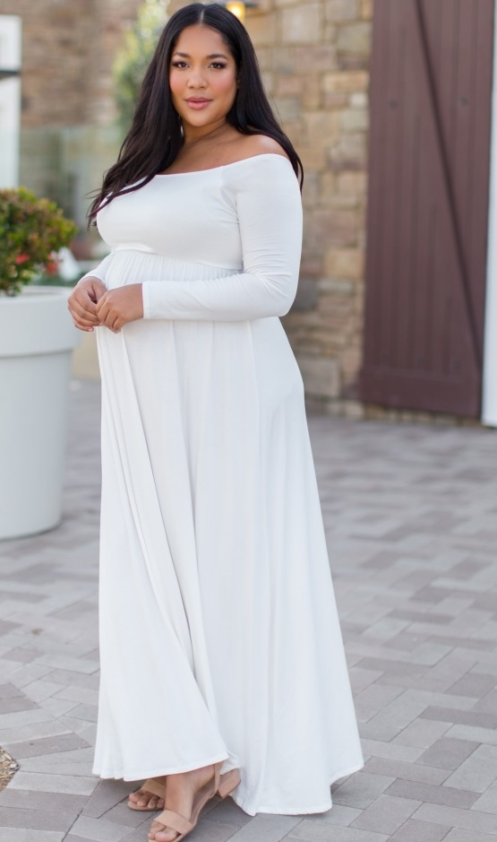 White Plus Size Maternity Maxi Dresses and Plus Size White ...