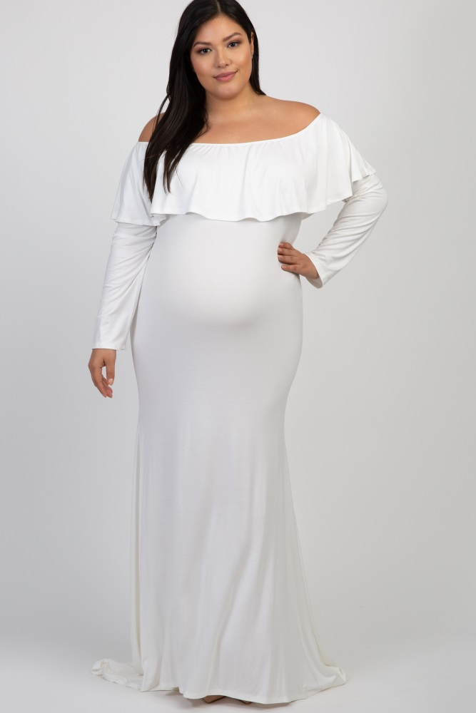 Plus Size White Maternity Maxi Dress For Baby Shower