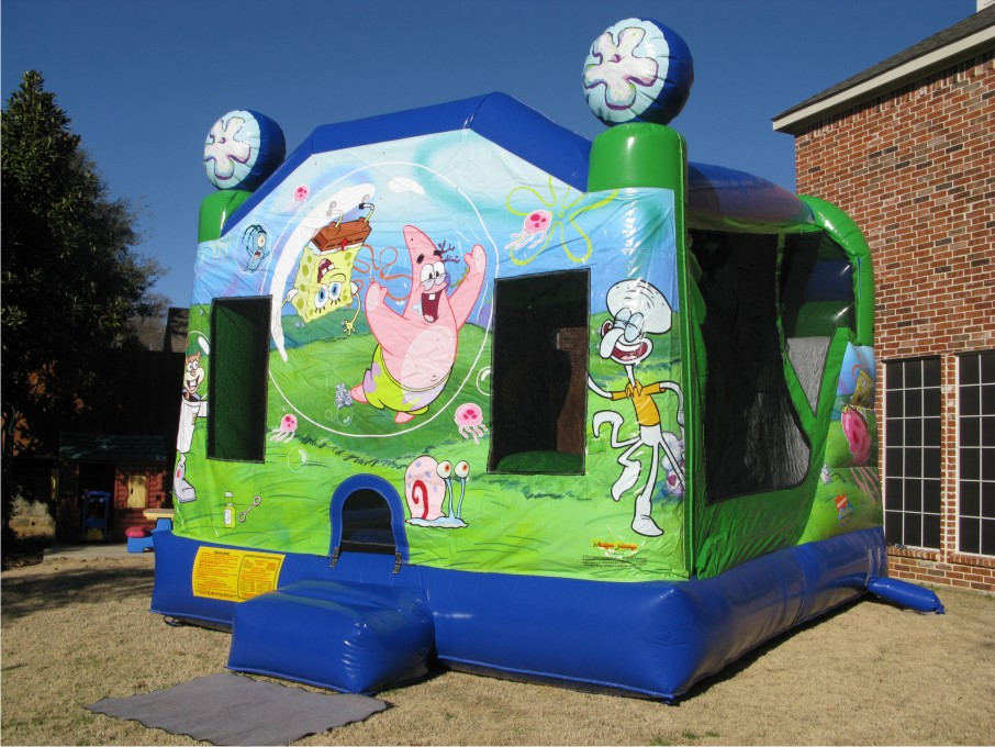 inflatable chairs for adults wood lounge plans spongebob bounce house party combo - jumphouses.com