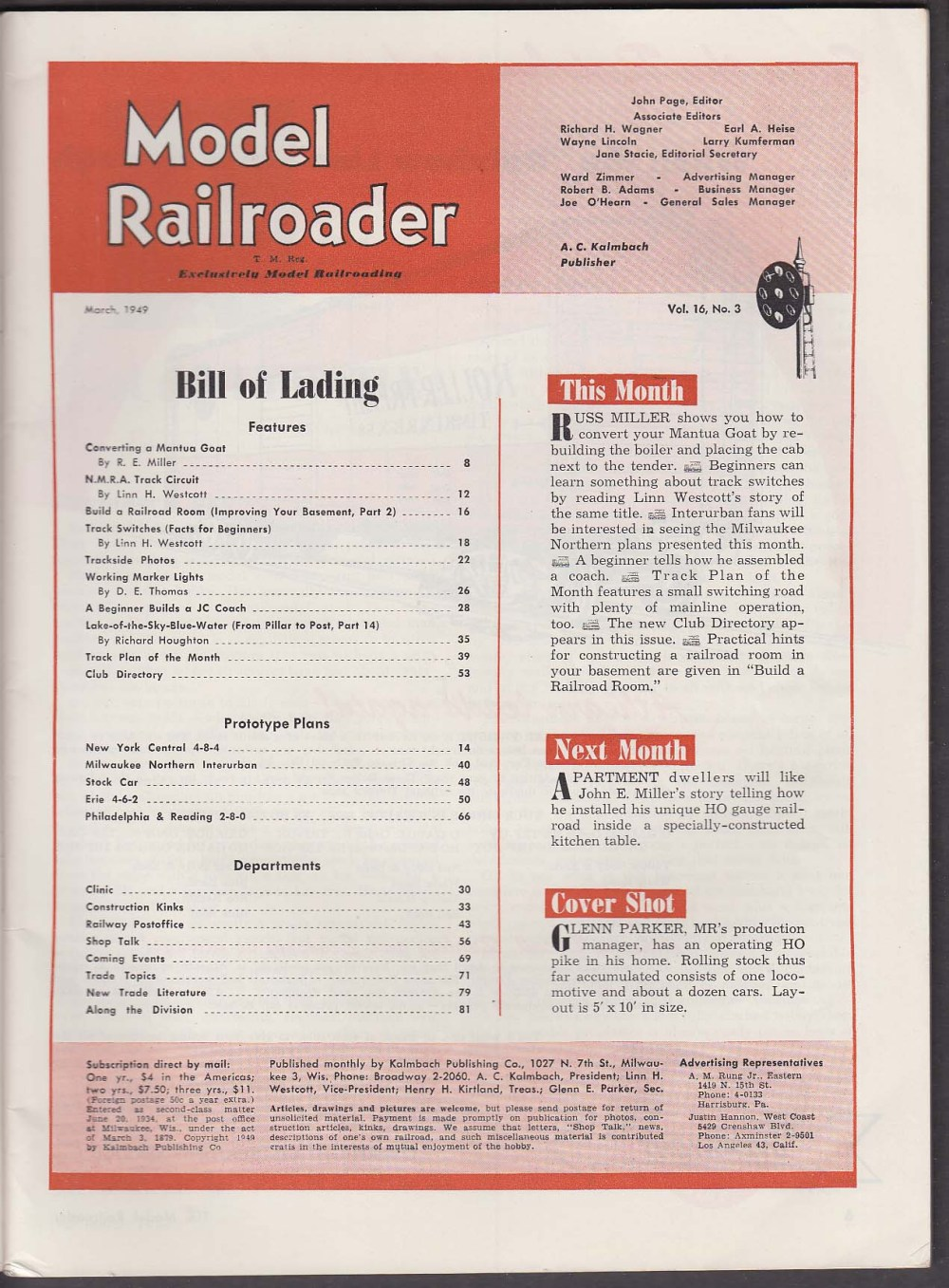 medium resolution of model railroader switch wiring lighted markers track circuit ho loco 3 1949