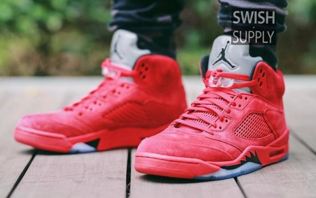 Air Jordan 5 Retro Red Suede Foot