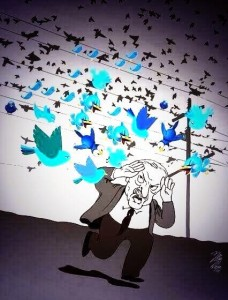 Hier eine Zeichnung, auf der ein wegrennender Edogan von Twittervögeln verfolgt wird
