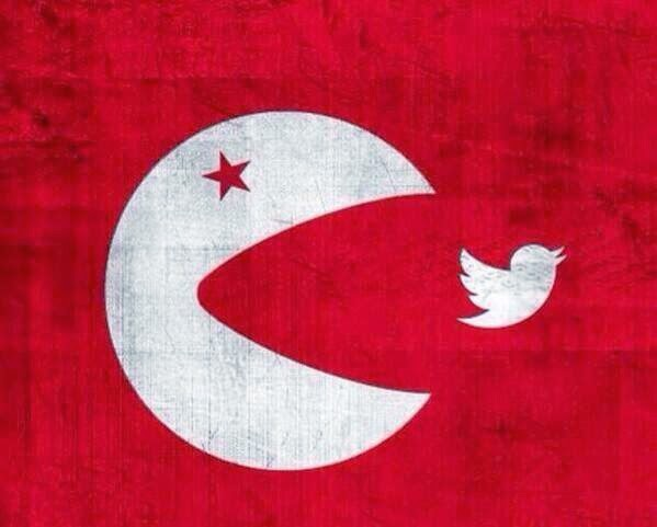 Die türkische Flagge, aber umgewandelt. Der Mond ist ein Pacman, der dabei ist, einen kleinen Twittervogel zu fressen. Ein sehr treffendes Bild für die Proteste in der Türkei.
