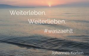 """Hier ist ein Bild eines Sonnenuntergangs am Meer zu sehen. Kitschig, aber so ist es eben. Auf dem Bild steht """"Weiterleben. Weiterlieben. #waszaehlt. Johannes Korten"""""""
