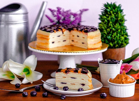Front View_Peanut Butter & Blueberry Mille Crepe_Whole&Sliced