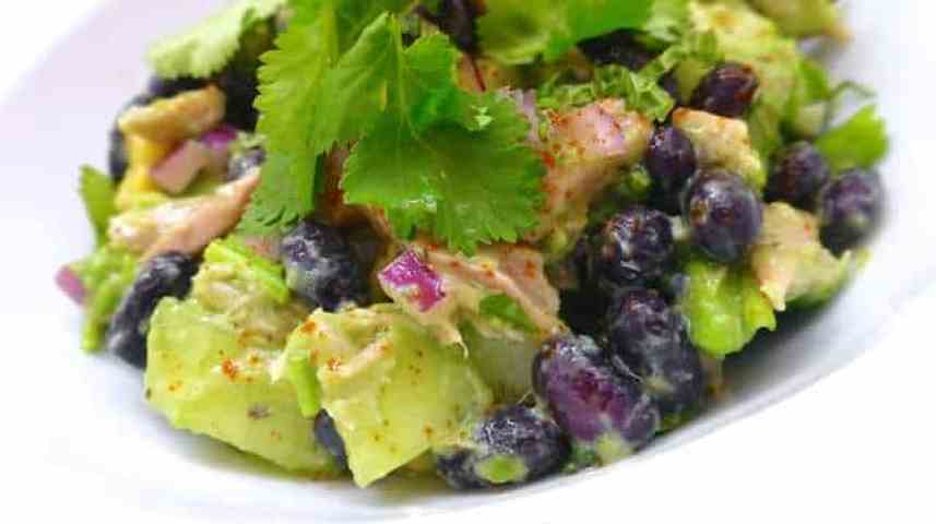 Looking for a sunny side salad or simple lunch bite? Try my avocado salad recipe with black beans, tuna and fresh cilantro!