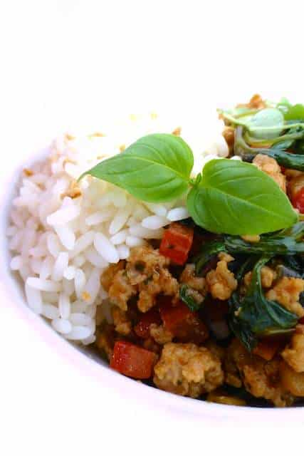 Ra-tata-Thai today! Look at this delicious Thai basil chicken recipe… My local supermarket sometimes has fresh Thai basil for sale!