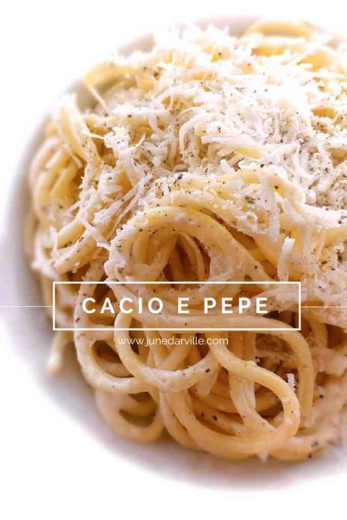 Classic cacio e pepe pasta: simple Italian spaghetti dish with grated parmesan cheese and freshly ground pepper... Sublime!